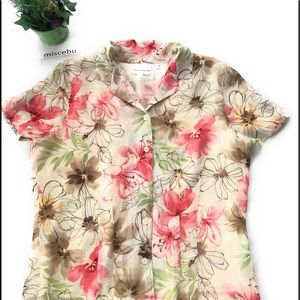 Alfred Dunner Macy's size 12 blouse floral Hawaiia